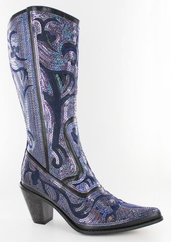 Black with blue sequins V2 Bling Boots