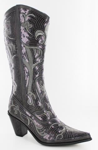 Pewter Color Bling Cowboy Boots