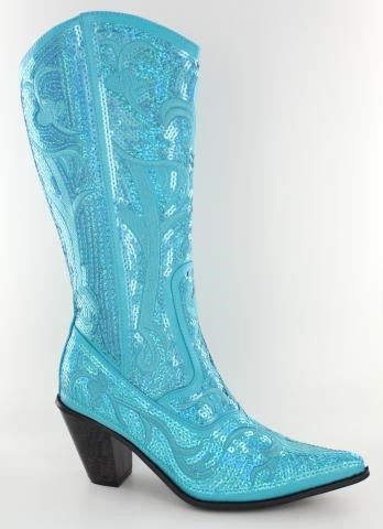 Turquoise Bling Cowboy Boots