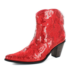 Red Bling Sequin Short Ankle Boot with Zipper on the side