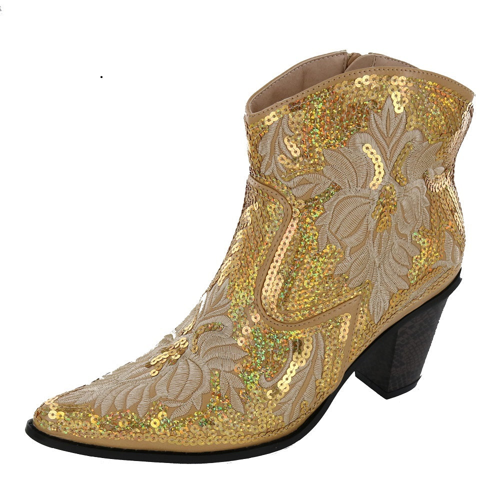 Short bling boots Embroidered Boots with Zipper! (REPLACMENT FOR LB-0290-11) Heel:3.0 inch