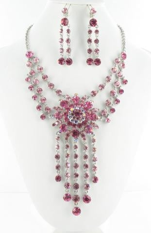 Pink stone necklace set