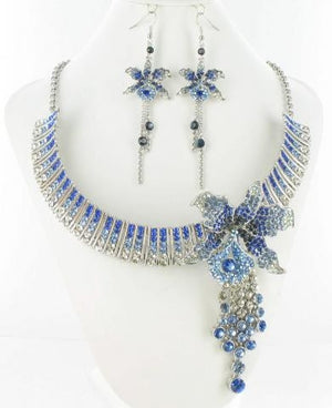 Swarovski Silver Base Sapphire Blue (206) Stone Necklace Set