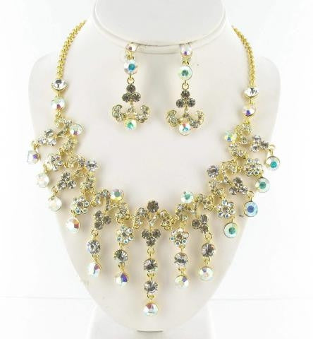 Swarovski Gold base AB (001 AB) & Clear (001) Crystal stone necklace set
