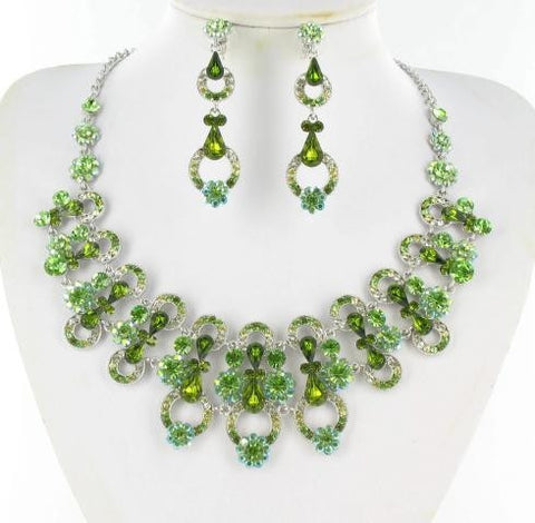 Olivine Green  Stone Necklace Set