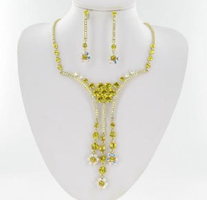 Swarovski Gold Base Light Topaz (226) Stone Necklace Set
