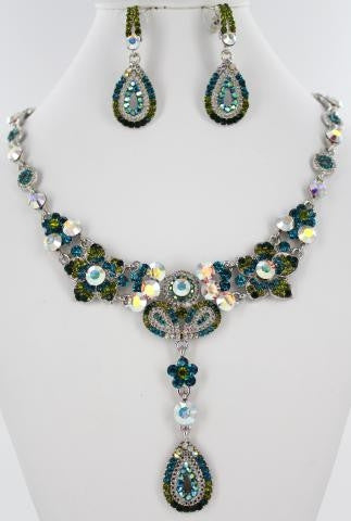 Emerald Green & AB Crystal Necklace Set
