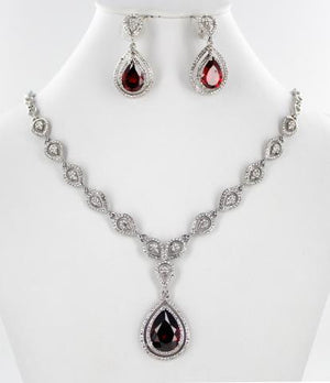 Silver base Purple Stone necklace Set