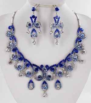 Light Sapphire & Clear Crystal Stone Necklace Set