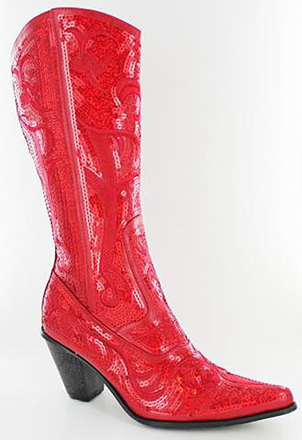 Bright Red Bling Cowboy Boot