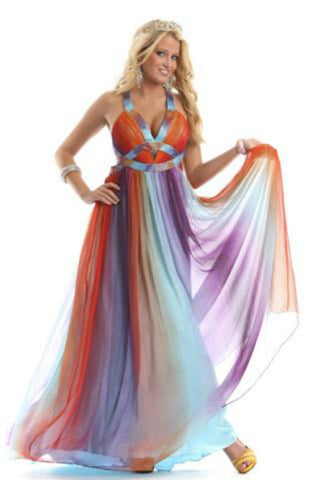 Dress any Occassion Stunning Multicolored  jeweled front size2-10