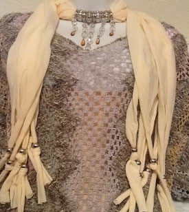 Tan Scarf with Beaded Detail
