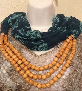 Teal Printed Scarf with Wood Bead Detail