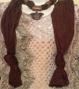 Brown Scarf with Bronze Leaf Pendant