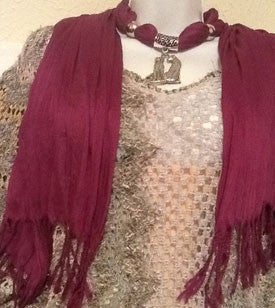 Magenta Scarf with Silver Cheetah Pendant