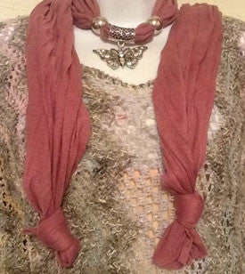 Dusty Rose Scarf with Silver Butterfly Pendant