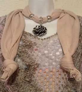 Tan Scarf with Silver Flower Pendant