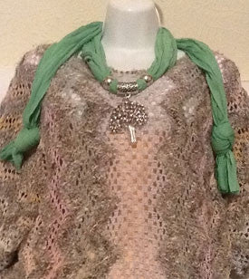Gorgeous Green Scarf with Silver Tree Pendant