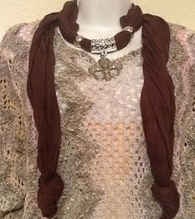 Brown Scarf with Silver Fleur de Lis Pendant