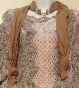 Tan Scarf with Silver Jeweled Pendant