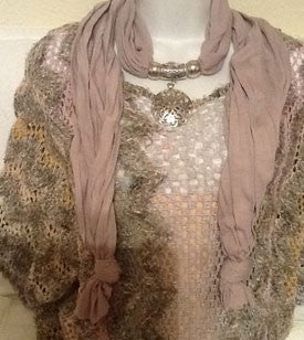 Dusty Rose Scarf with Silver Sand Dollar Pendant