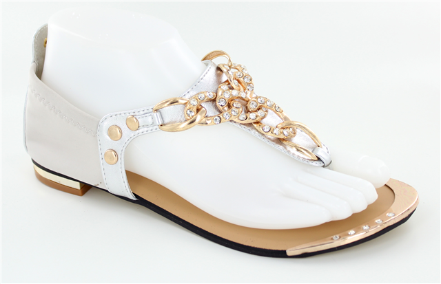 Gold and White Chain Sandals       Size 9