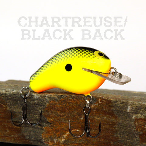 Old School Balsa Baits Squarebill 1 in Chartreuse Black