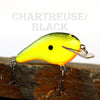 Old School Balsa Square Bill 2 in Chartreuse/Black