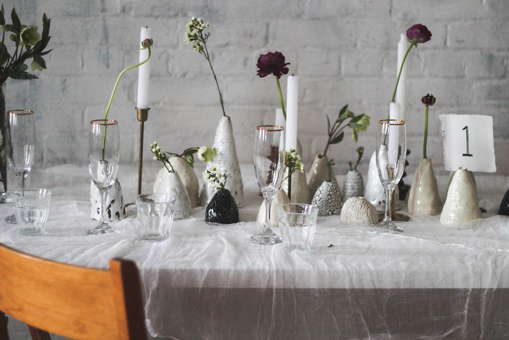 L&R Studio vases wedding setting
