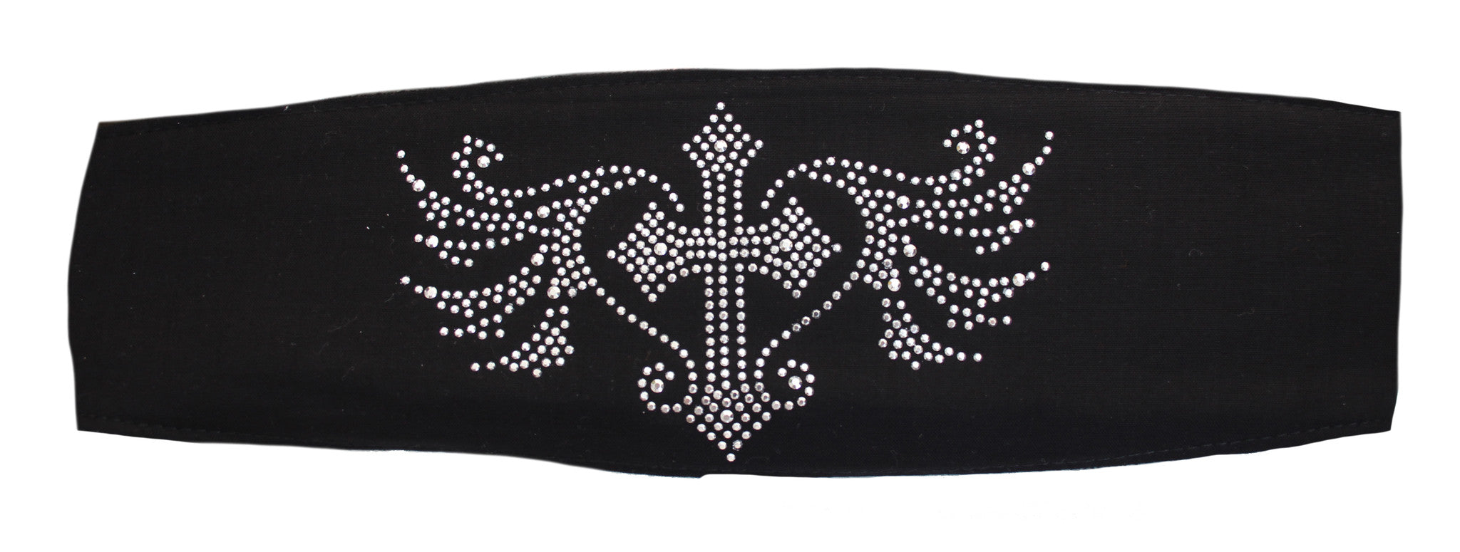 Studded Blessed Cross Black Ladies Chop Top Bandana