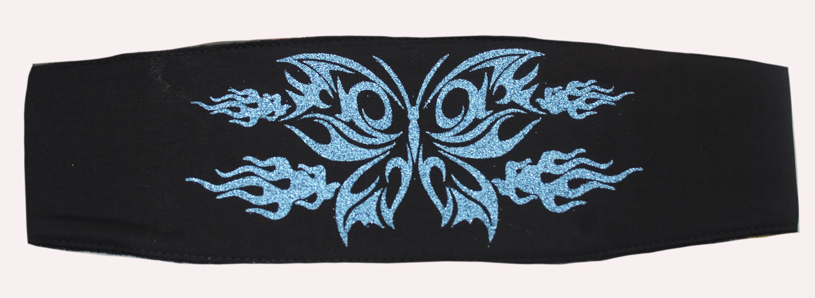 Blue & Black Glitter Butterfly Chop Top Bandana