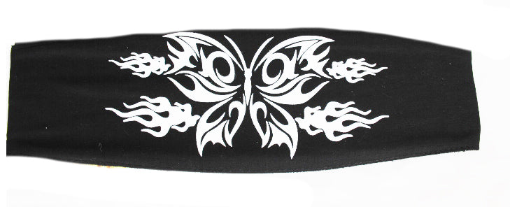 Ladies White & Black Glitter Butterfly Chop Top Bandana
