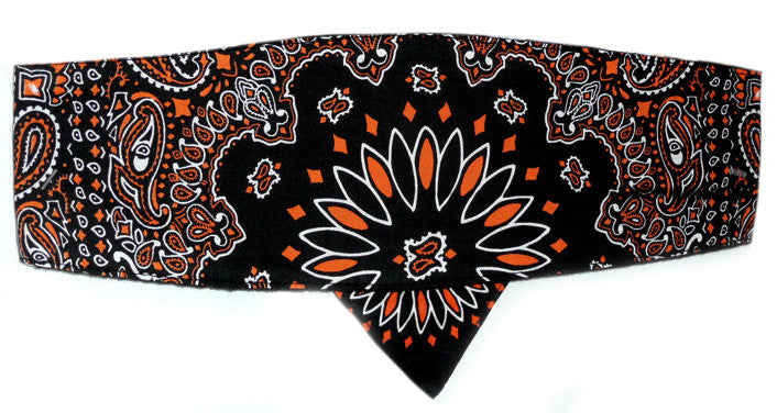 Paisley Black & Orange Chop Top Doo Wrap Bandana