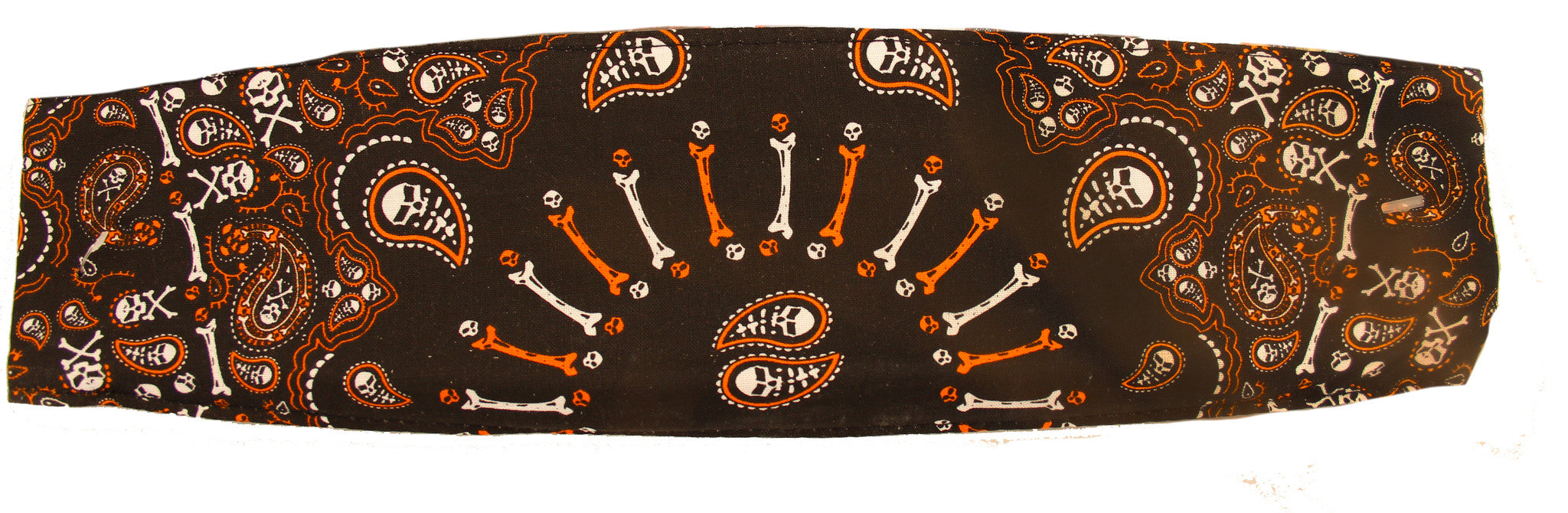 Paisley Black & Orange Skull & Cross Bones Chop Top Bandana