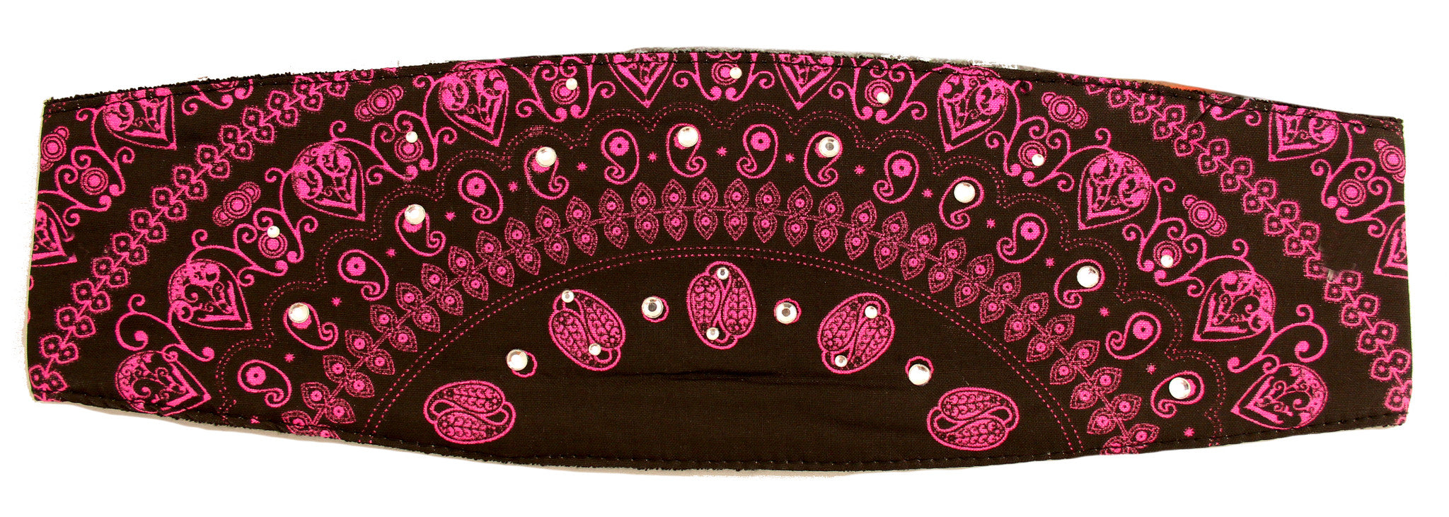 Lady Paisley Magenta Chop Top Bandana Headwrap with Rhinestones