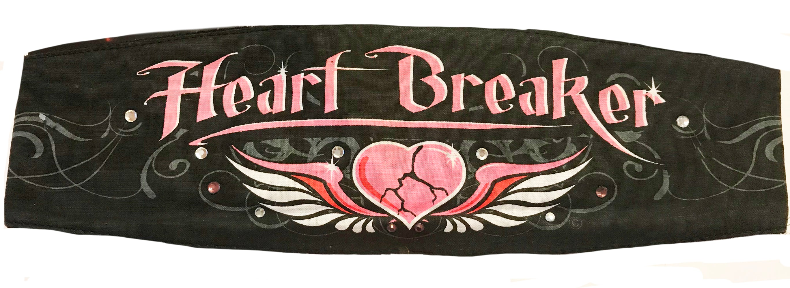 Heart Breaker & Crystals Chop Top Bandana Head Wrap Black