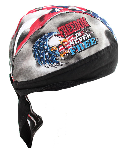 American Freedom is Never Free Biker USA Skull Cap Hat