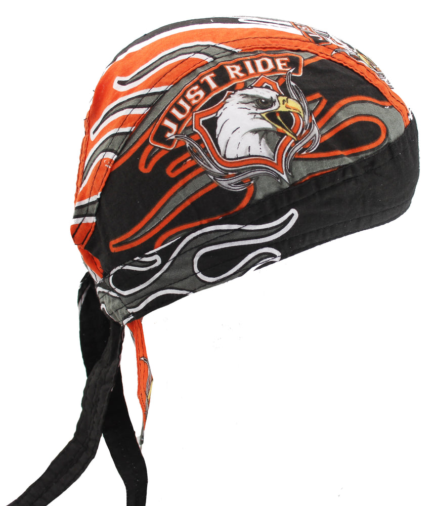 Just Ride Motorcycle Biker Bandana Headwrap Headscarf Skull Cap Hat Orange