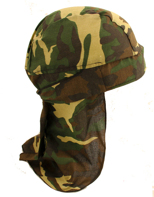 Skull Army Woodland Camo Bandana Hat with Tie & Full Neck Protection