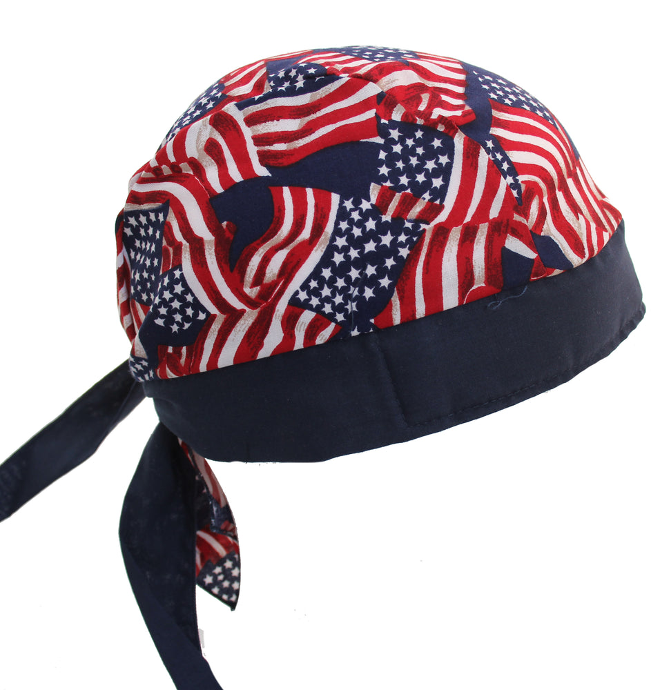 Stars & Stripes USA American Flag Skull Cap Hat