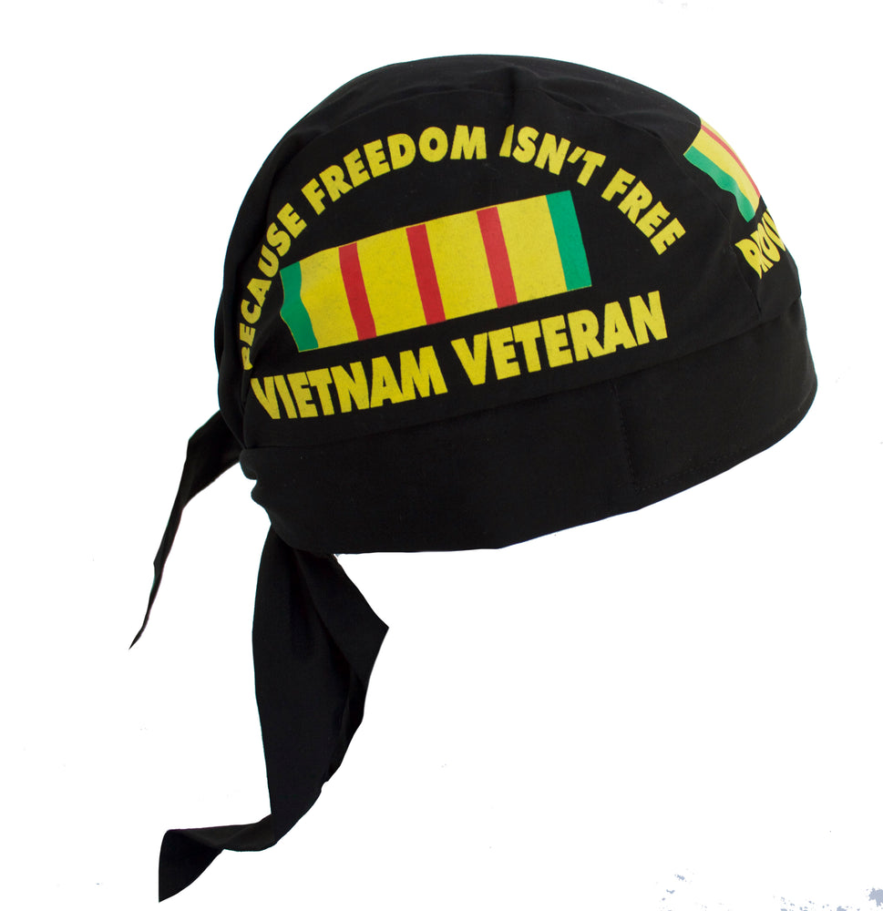Proud Vietnam Veteran Black Skull Cap Hat Bandana with Tie