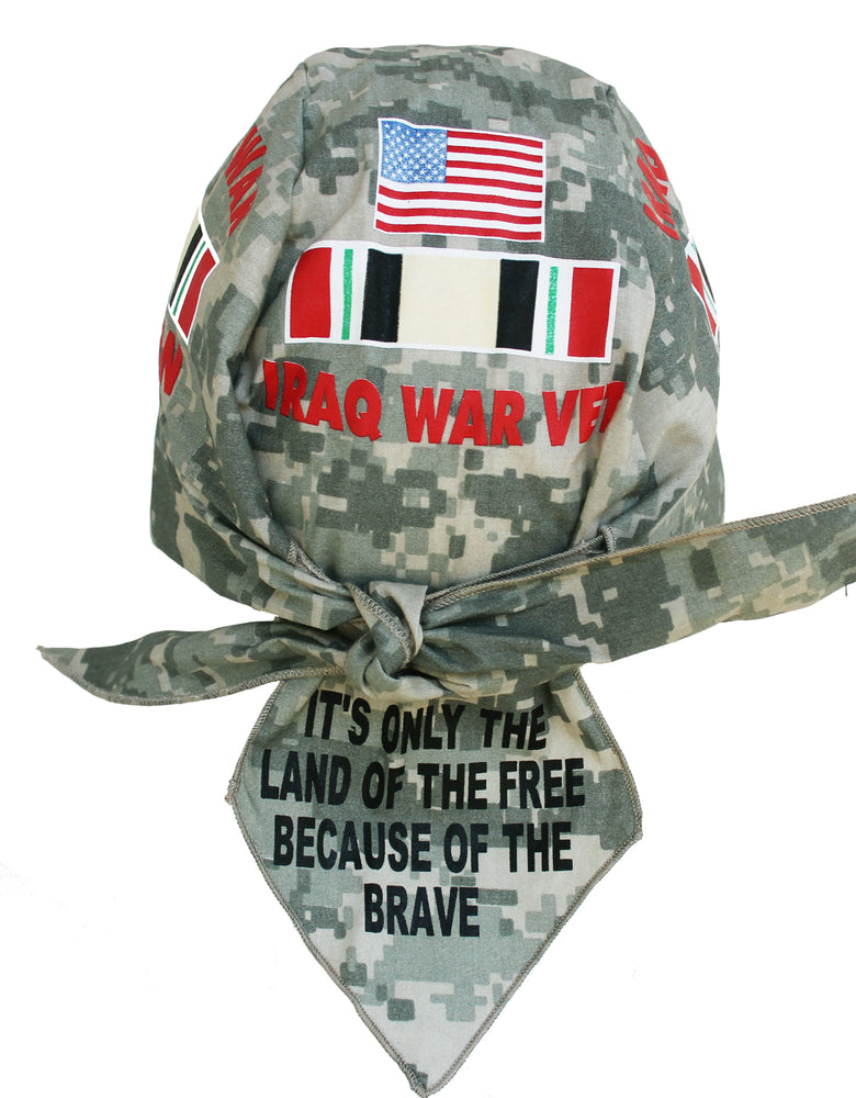 Iraq War VETERAN ACU Green Digital Camo Skull Cap Hat Bandana