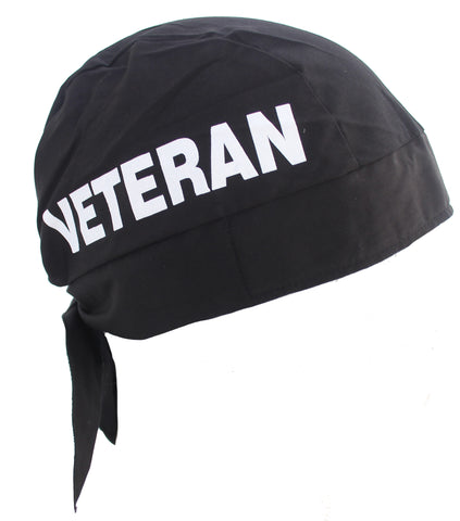 Proud Veteran Black Skull Cap Hat Bandana with Tie