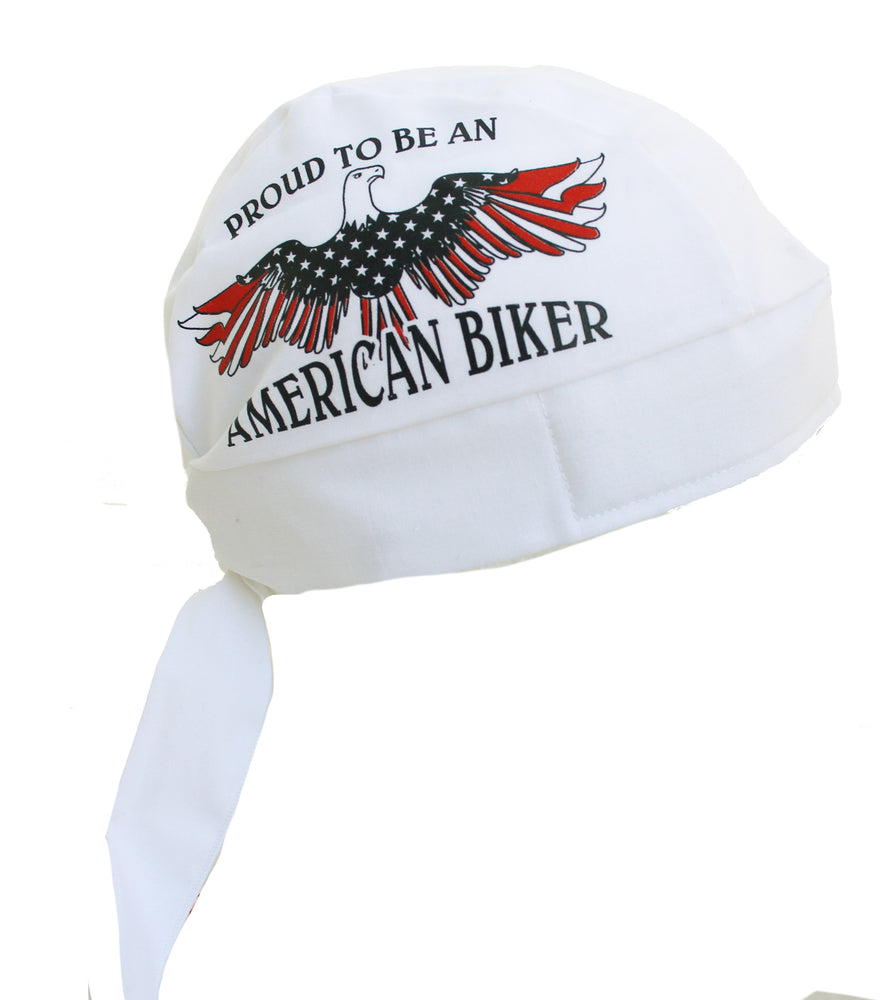 Proud American Biker USA Flag Eagle Skull Cap
