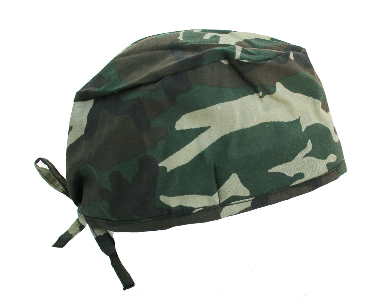 Military Green Woodland Camo Surgical Scrub Cap Hat