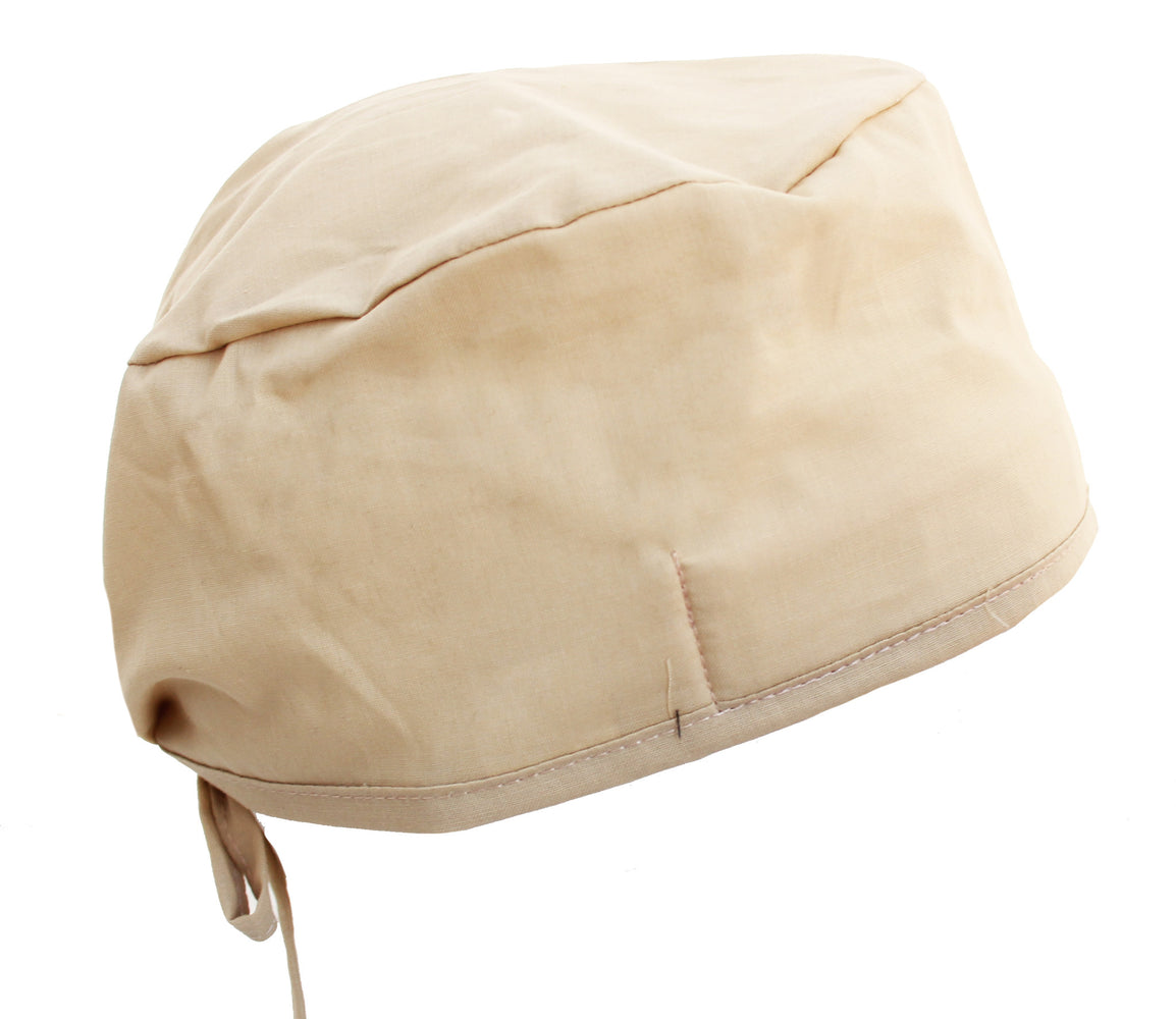 Solid Beige Tan Surgical Scrub Cap Hat