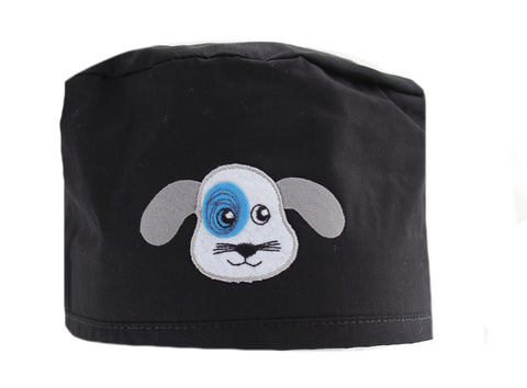 Black Puppy Dog Surgical Scrub Cap Hat