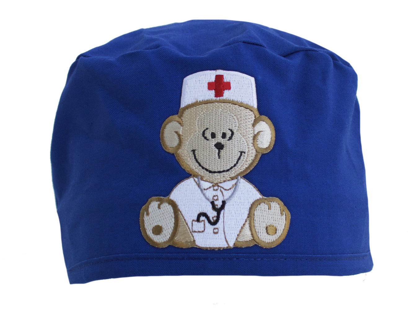 Royal Blue Teddy Bear Monkey Surgical Scrub Cap Hat