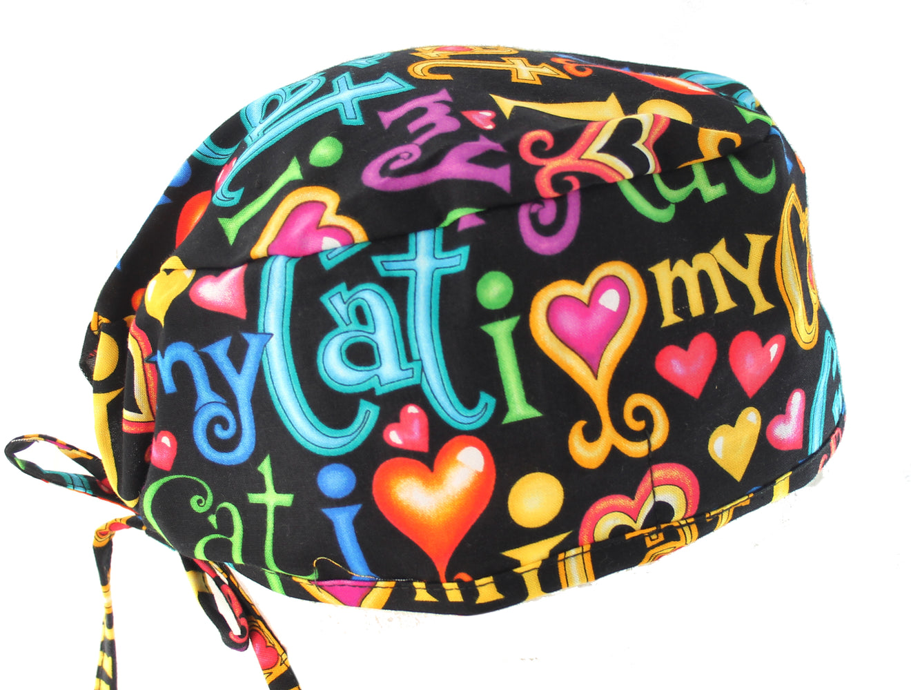 Colorful I Love My Cat 2 Surgical Scrub Cap Hat
