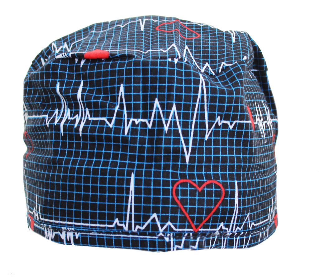 Navy Blue Heart Beat EKG Surgical Scrub Cap Hat